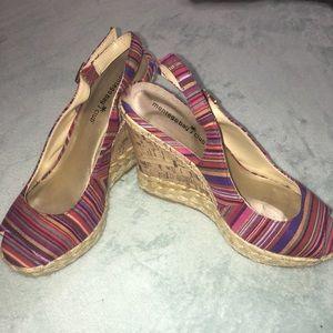 Size 9 Montego Bay Peep Toe Multi Colored Wedge